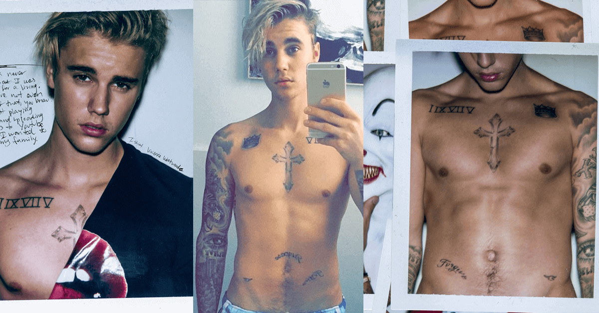 Justin Bieber leaked pics with tatoo